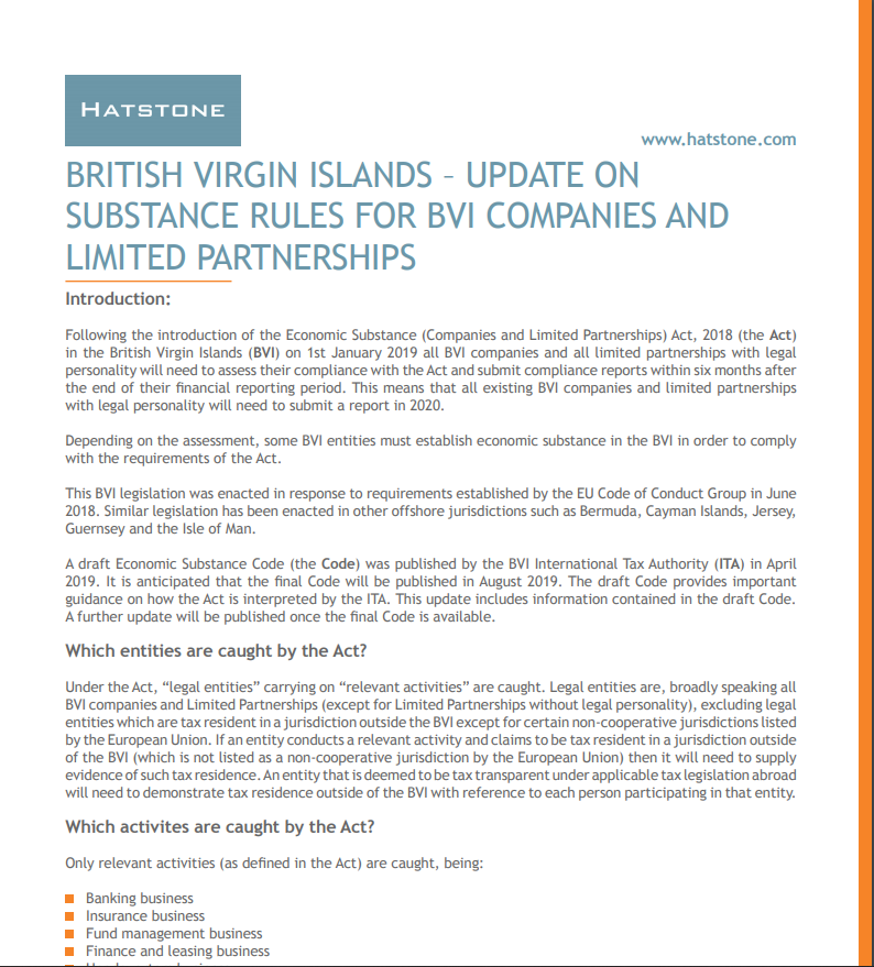 British Virgin Islands Update on Substance Rules for BVI Companies and Limited Partnerships