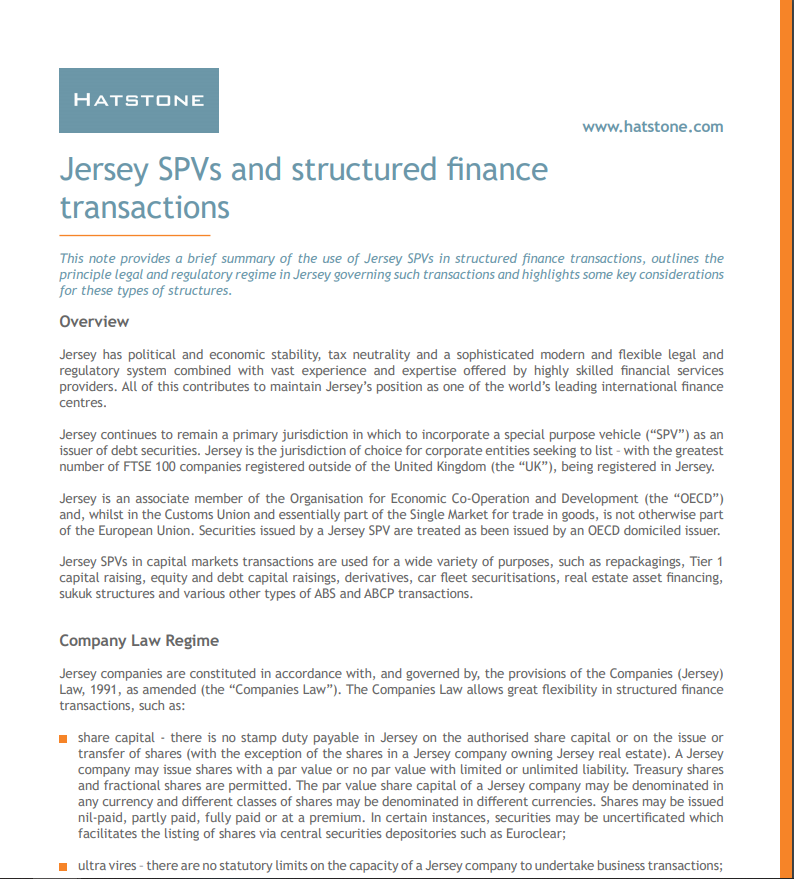 Jersey SPVs and structured finance transactions