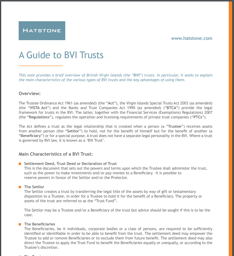 A Guide to BVI Trusts