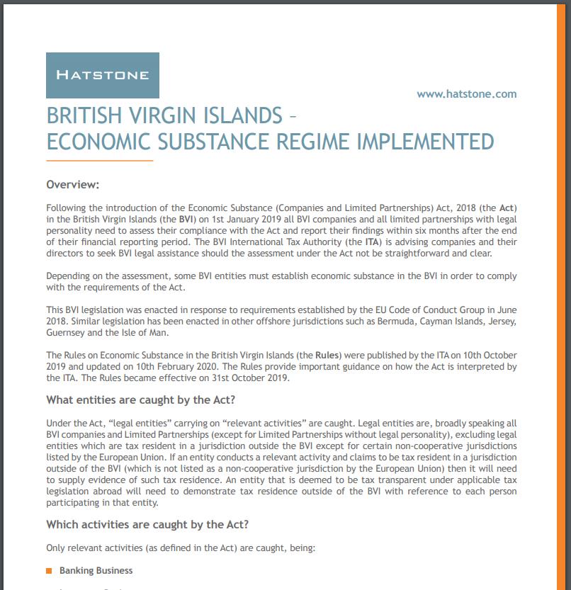 British Virgin Islands – Economic Substance Regime Implemented