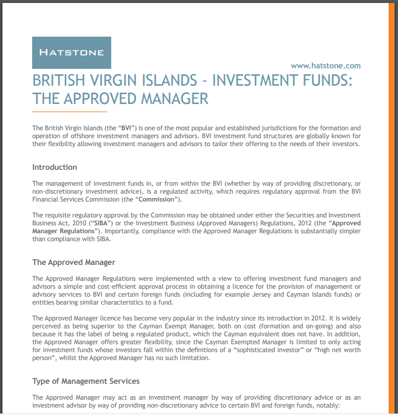 British Virgin Islands – Investment Funds The Approved Manager