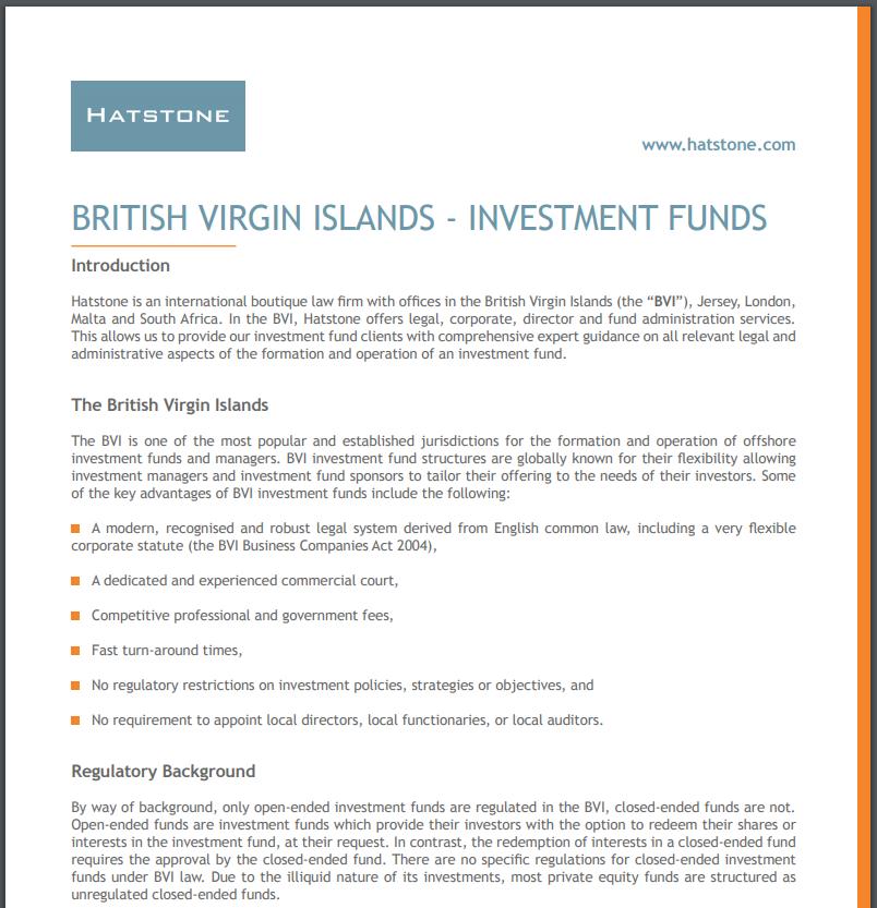British Virgin Islands – Investment Funds