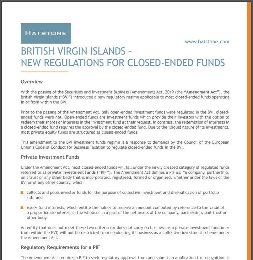 British Virgin Islands – New Regulations for Closed-Ended Funds