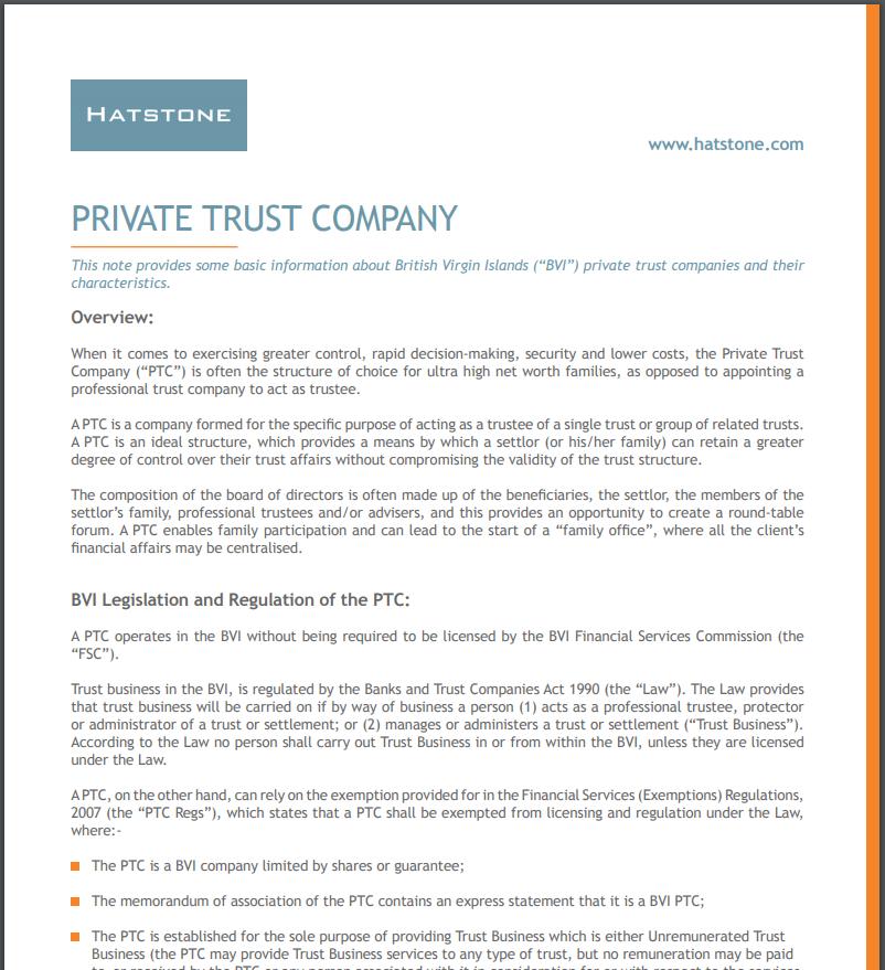 British Virgin Islands – Private Trust Company