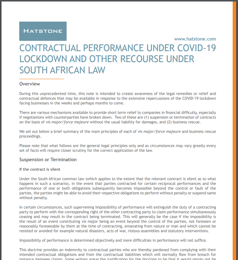 Contractual Performance Under Covid-19 Lockdown and Other Recourse Under South African Law