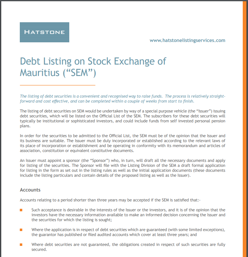 """Debt Listing on the Stock Exchange of Mauritius (""""SEM"""")"""