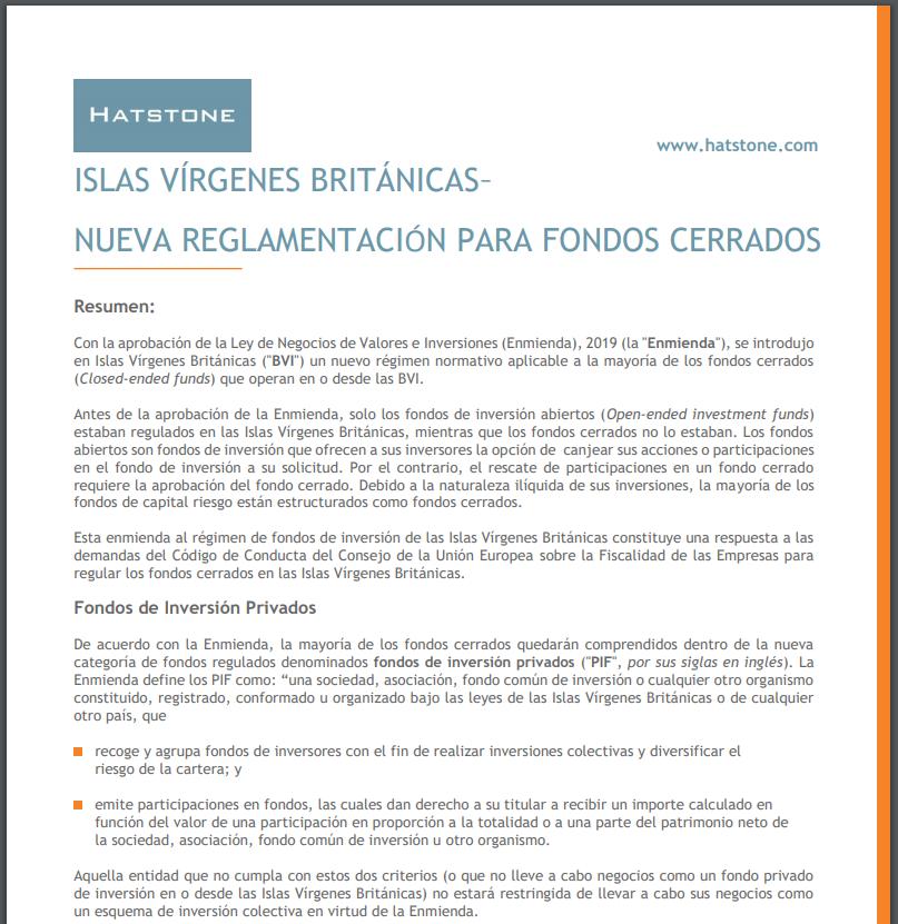 Islas Vírgenes Británicas – Nueva Reglamentación Para Fondos Cerrados