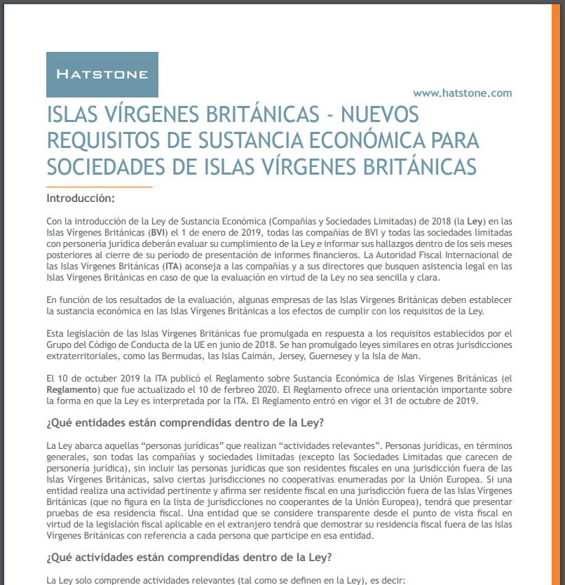 Islas Vírgenes Británicas – Nuevos Requisitos De Sustancia Económica Para Sociedades De Islas Vírgenes Británicas