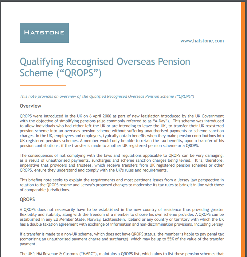 """Qualifying Recognised Overseas Pension Scheme (""""QROPS"""")"""