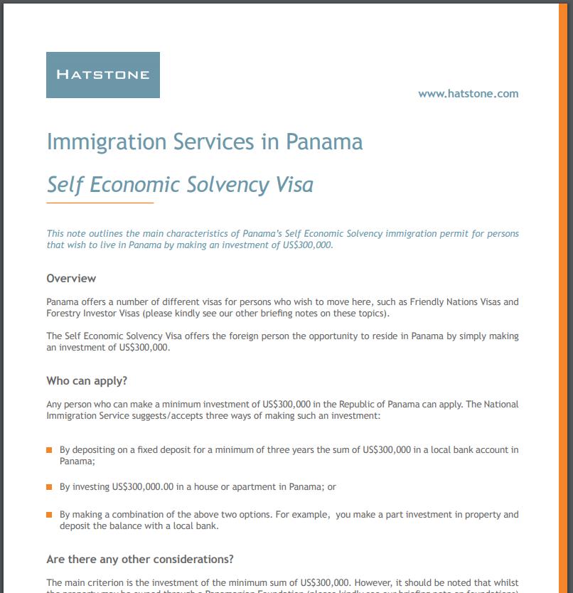 Self Economic Solvency Visa